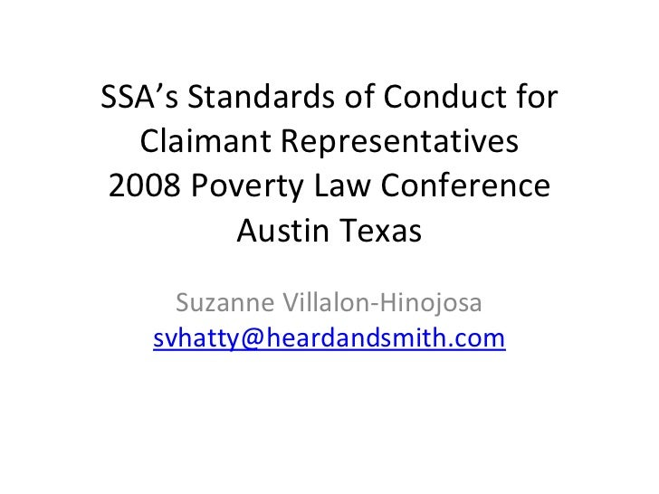 Ss As Standards Of Conduct For Claimant Representatives