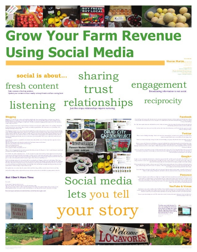 Grow Your Farm Revenue Using Social Media Presented By Sheree Martin, J.D., LL.M., Ph.D. Assistant Professor, Department o...