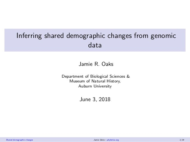 Inferring shared demographic changes from genomic data Jamie R. Oaks Department of Biological Sciences & Museum of Natural...