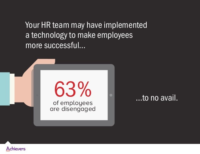 Your HR team may have implemented a technology to make employees more successful… ...to no avail.63%of employees are disen...