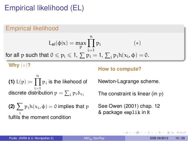 Empirical likelihood