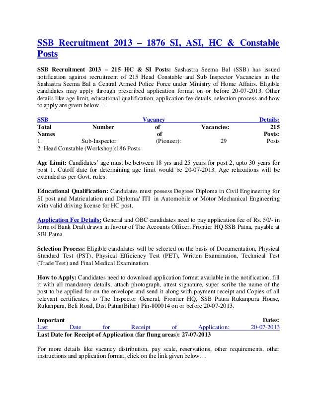 SSB Recruitment 2013 – 1876 SI, ASI, HC & ConstablePostsSSB Recruitment 2013 – 215 HC & SI Posts: Sashastra Seema Bal (SSB...