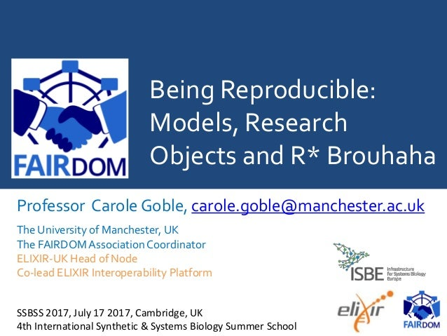 Being Reproducible: Models, Research Objects and R* Brouhaha Professor Carole Goble, carole.goble@manchester.ac.uk The Uni...