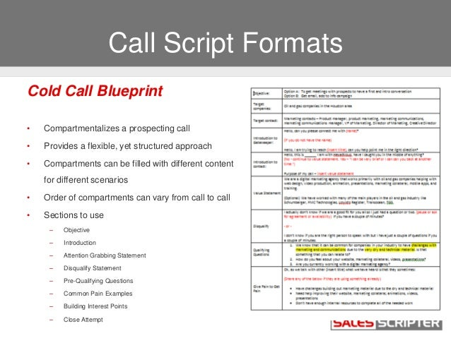 How to build a cold call script that works for Cold call script template