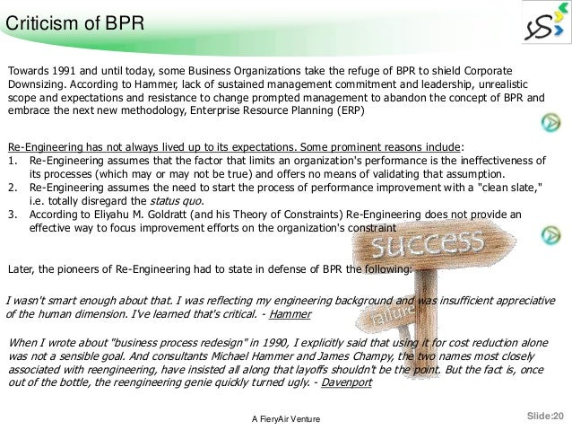 role of leadership in bpr Business process re-engineering, or the so-called the term (reengineering reengineering) is, in computer science and management, approach aims to make improvements by raising the efficiency and effectiveness of processes used within organizations.