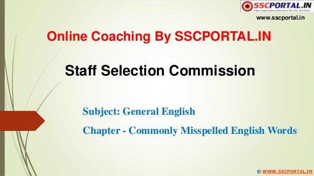 commonly misspelled words for ssc cgl pdf