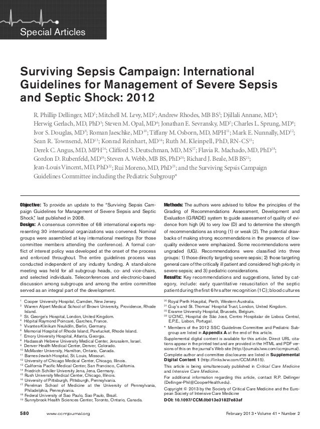 """580 www.ccmjournal.org February 2013 • Volume 41 • Number 2 Objective: To provide an update to the """"Surviving Sepsis Cam..."""