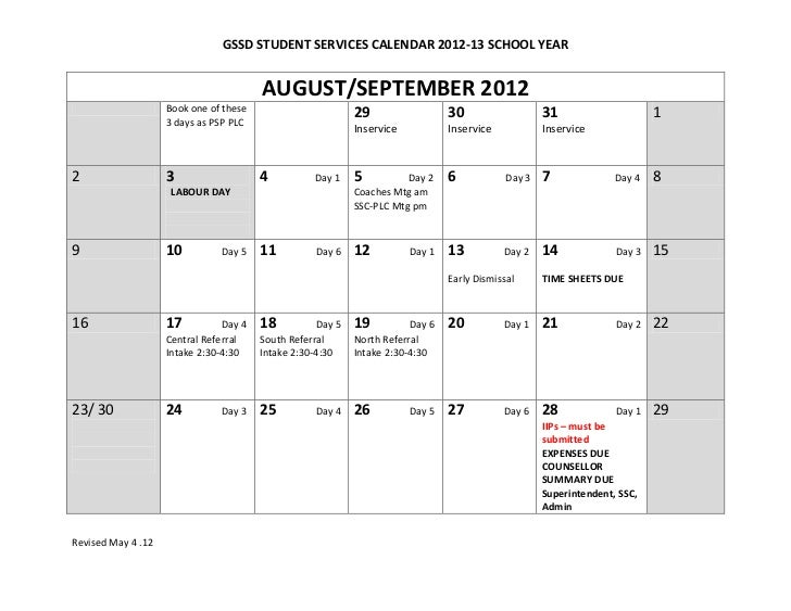 GSSD STUDENT SERVICES CALENDAR 2012-13 SCHOOL YEAR                                        AUGUST/SEPTEMBER 2012           ...