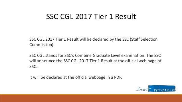 Ssc Cgl Tier 1 Result Pdf