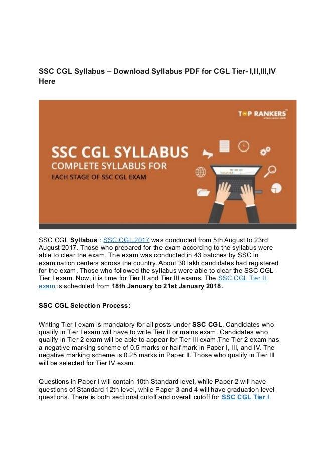 Ssc Cgl Tier 2 Syllabus Pdf