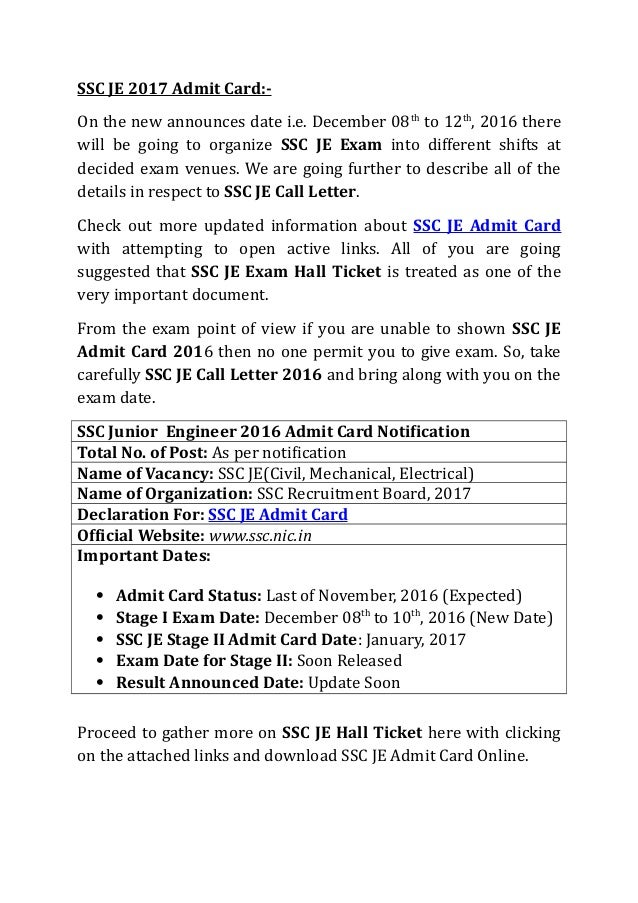 SSC JE Exam Admit Card Download
