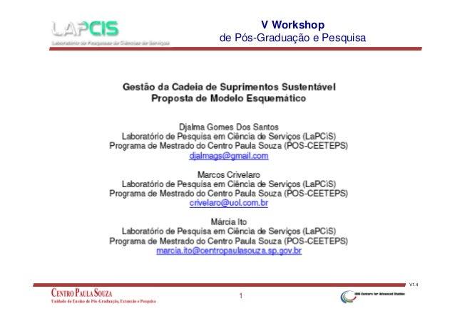 V Workshop de Pós-Graduação e Pesquisa  V1.4  1