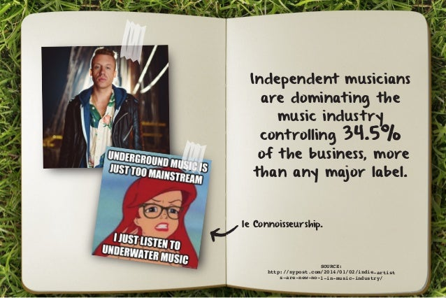 Independent musicians  are dominating the  music industry  controlling 34.5%  of the business, more  than any major label....