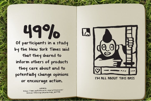 49% Of participants in a study  by the New York Times said  that they shared to  inform others of products  they care abou...
