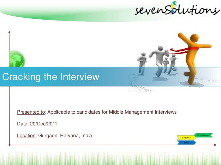 Cracking the Interview   Presented to: Applicable to candidates for Middle Management Interviews   Date: 20/Dec/2011   Loc...