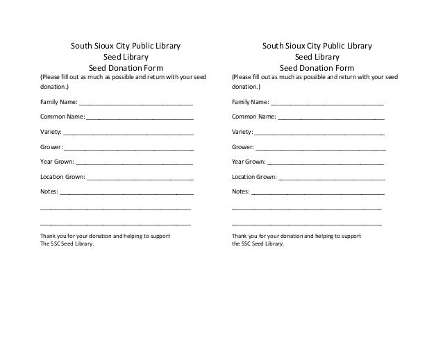 South Sioux City Public Library Seed Library Donation Form