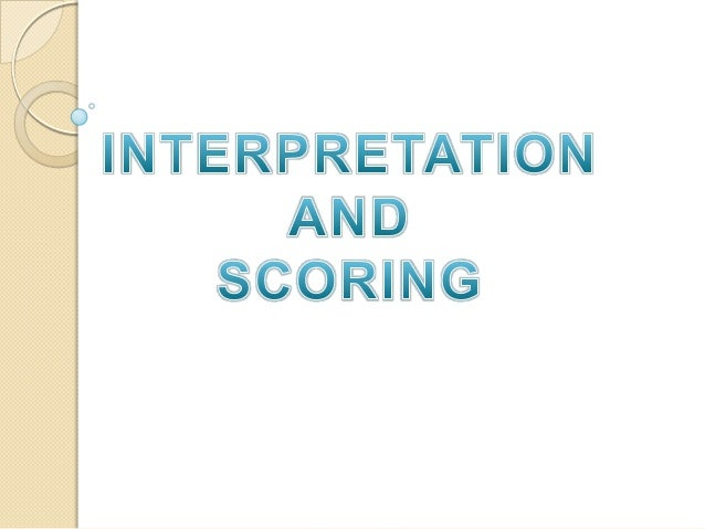 Ssct interpretation and scoring