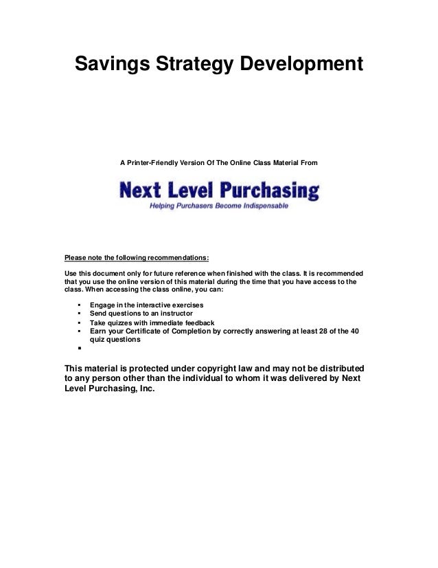 Savings Strategy Development  A Printer-Friendly Version Of The Online Class Material From  Please note the following reco...