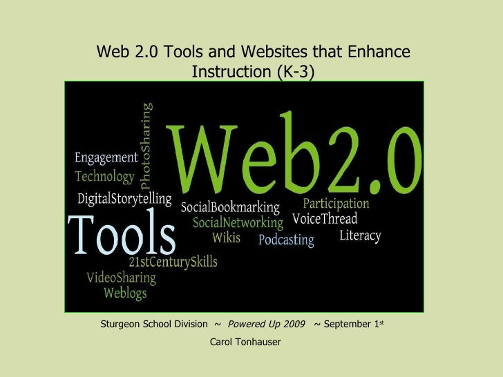 Sturgeon School Division  ~  Powered Up 2009  ~ September 1 st   Carol Tonhauser Web 2.0 Tools and Websites that Enhance I...
