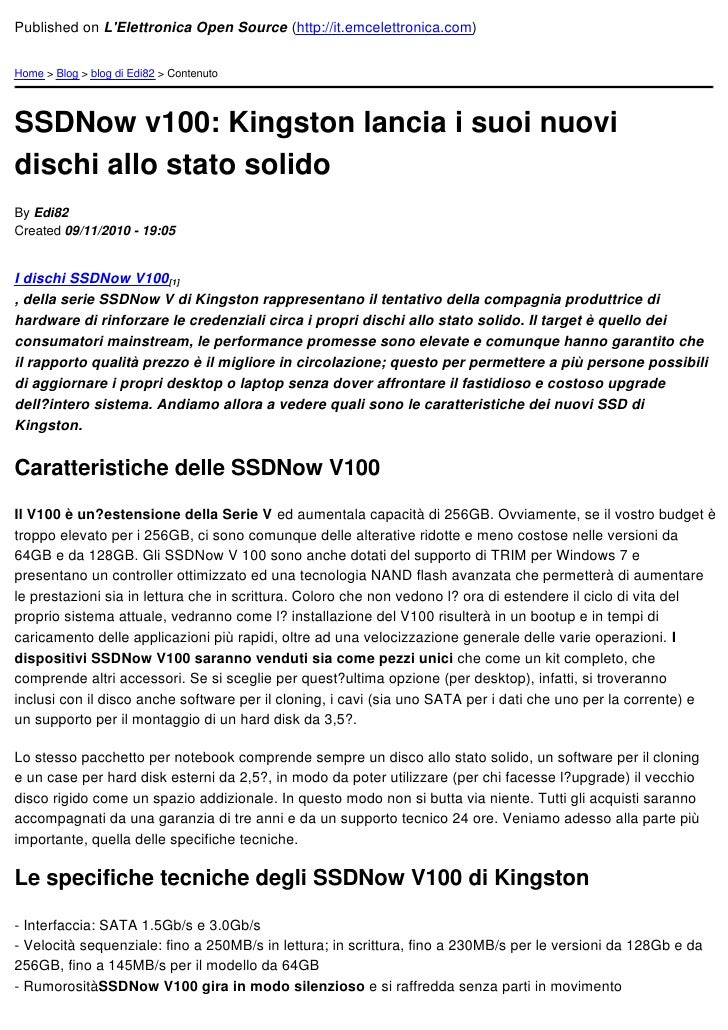 Published on LElettronica Open Source (http://it.emcelettronica.com)Home > Blog > blog di Edi82 > ContenutoSSDNow v100: Ki...