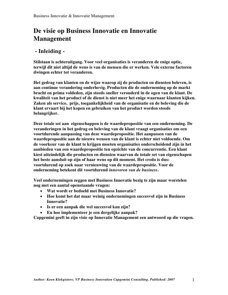 Business Innovatie & Innovatie Management   De visie op Business Innovatie en Innovatie Management - Inleiding - Stilstaan...