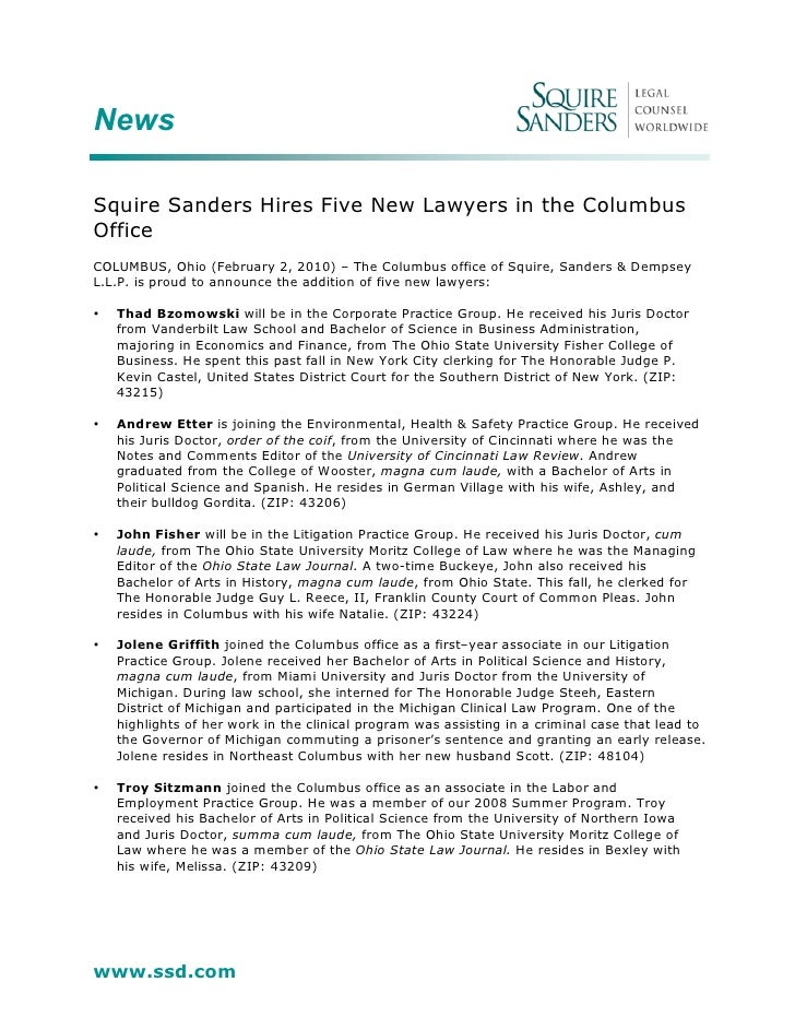 News  Squire Sanders Hires Five New Lawyers in the Columbus Office COLUMBUS, Ohio (February 2, 2010) – The Columbus office...