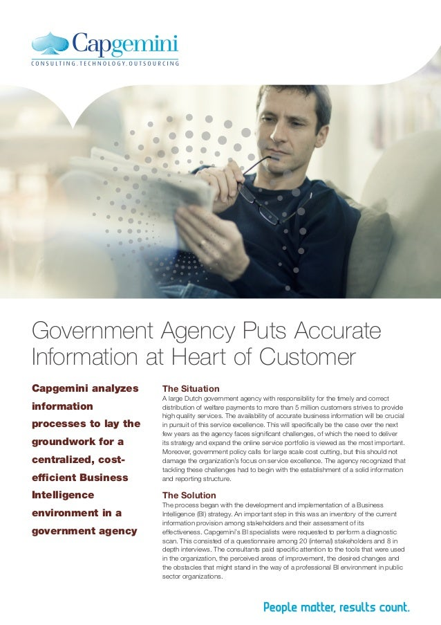 Government Agency Puts Accurate Information at Heart of Customer Capgemini analyzes  The Situation  efficient Business  A ...