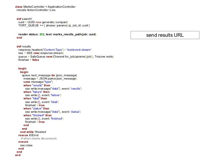 class MarksController < ApplicationController include ActionController::Live def search!  uuid = UUID.new.generate(:compac...