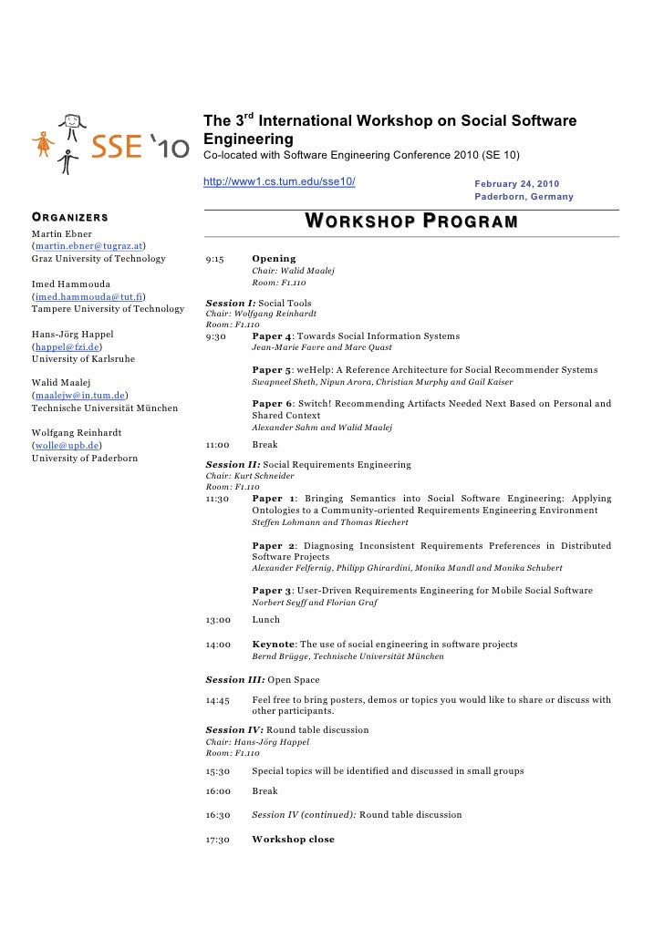 The 3rd International Workshop on Social Software                                    Engineering                          ...