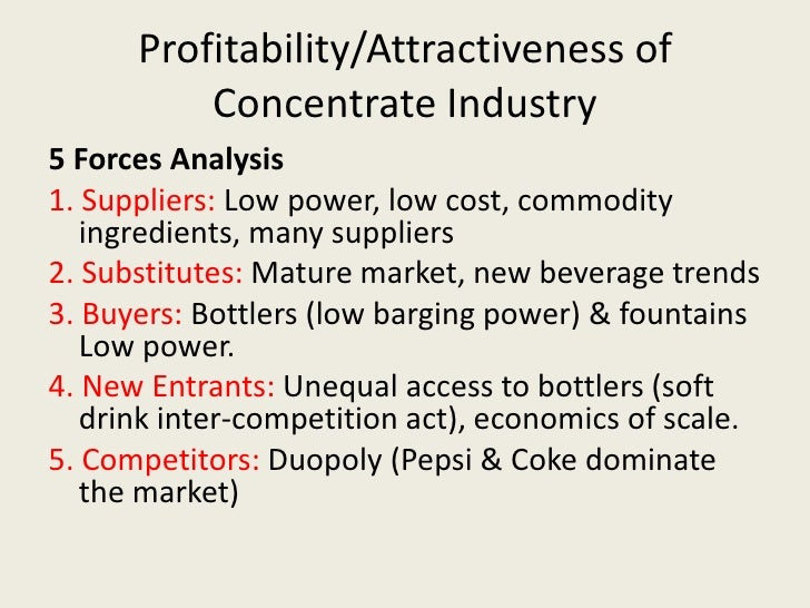 competitive force of soft drink industry Cola wars-case study  fig 1 porters five force analysis model for bottlers   the soft drink industry is an ever competitive indus try, dominated by bottling giant cce of.