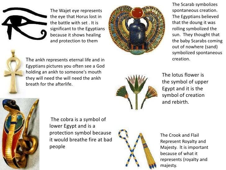 The Scarab symbolizes            The Wajet eye represents            spontaneous creation.            the eye that Horus l...
