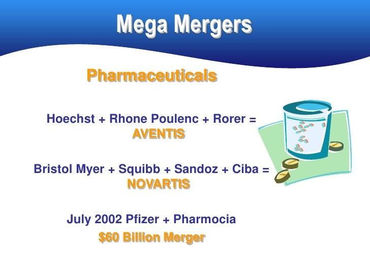 Mega Mergers         Pharmaceuticals    Hoechst + Rhone Poulenc + Rorer =                AVENTIS  Bristol Myer + Squibb + ...