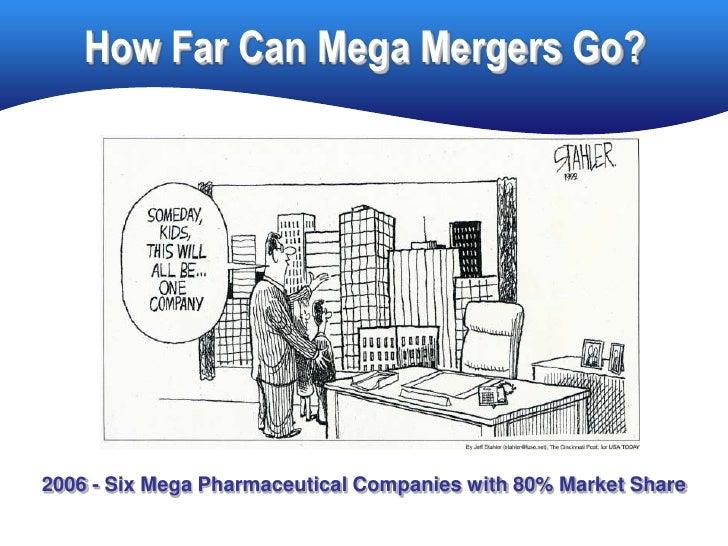 How Far Can Mega Mergers Go?     2006 - Six Mega Pharmaceutical Companies with 80% Market Share