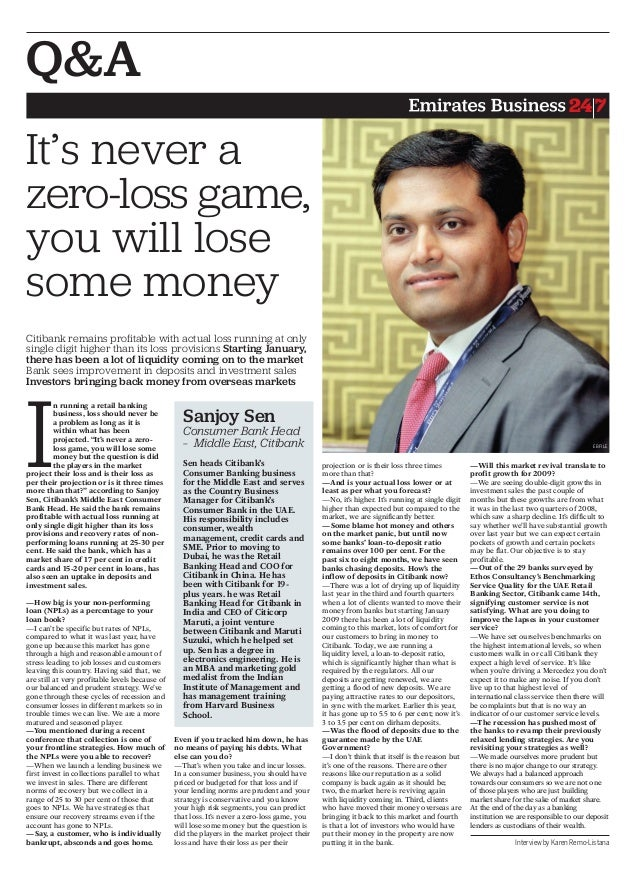 """In running a retail bankingbusiness, loss should never bea problem as long as it iswithin what has beenprojected. """"It's ne..."""