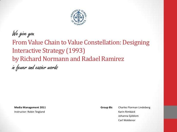 WegiveyouFrom ValueChaintoValueConstellation: Designing Interactive Strategy (1993)by Richard Normann and Radael Ramirezin...