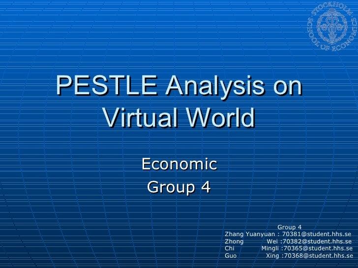PESTLE Analysis on Virtual World Economic Group 4 Group 4 Zhang Yuanyuan : 70381@student.hhs.se Zhong  Wei :70382@student....