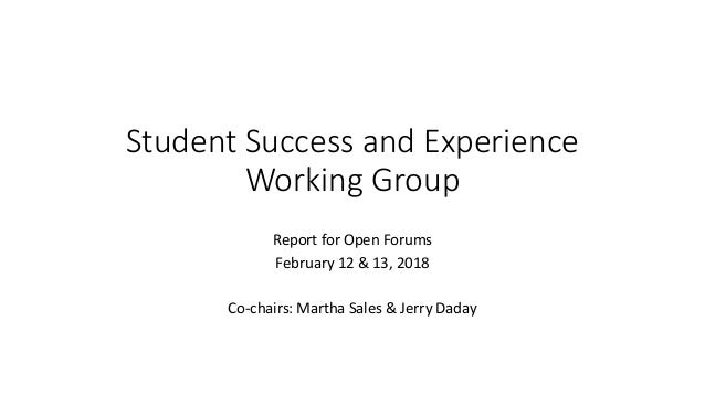 Student Success and Experience Working Group Report for Open Forums February 12 & 13, 2018 Co-chairs: Martha Sales & Jerry...