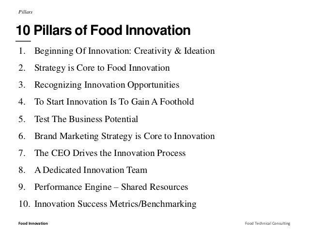 Pillars  10 Pillars of Food Innovation  1. Beginning Of Innovation: Creativity & Ideation  2. Strategy is Core to Food Inn...