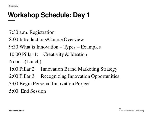Schedule  Workshop Schedule: Day 1  7:30 a.m. Registration  8:00 Introductions/Course Overview  9:30 What is Innovation – ...