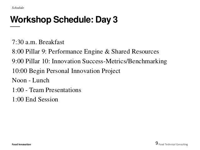 Schedule  Workshop Schedule: Day 3  7:30 a.m. Breakfast  8:00 Pillar 9: Performance Engine & Shared Resources  9:00 Pillar...