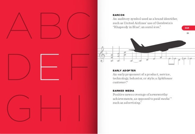 """EARCON  An auditory symbol used as a brand identifier, such as United Airlines' use of Gershwin's """"Rhapsody in Blue""""; an au..."""