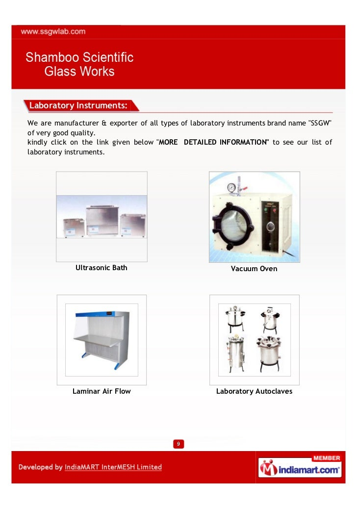 """Laboratory Instruments:We are manufacturer & exporter of all types of laboratory instruments brand name """"SSGW""""of very good..."""