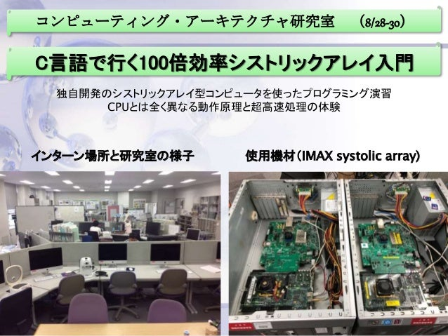 コンピューティング・アーキテクチャ研究室 (8/28-30) C言語で行く100倍効率シストリックアレイ入門 インターン場所と研究室の様子 使用機材(IMAX systolic array) 独自開発のシストリックアレイ型コンピュータを使ったプ...