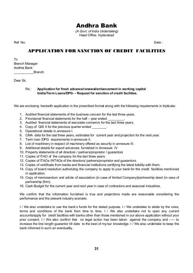 bank cc limit renewal letter format