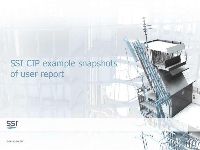 SSI CIP example snapshots of user report