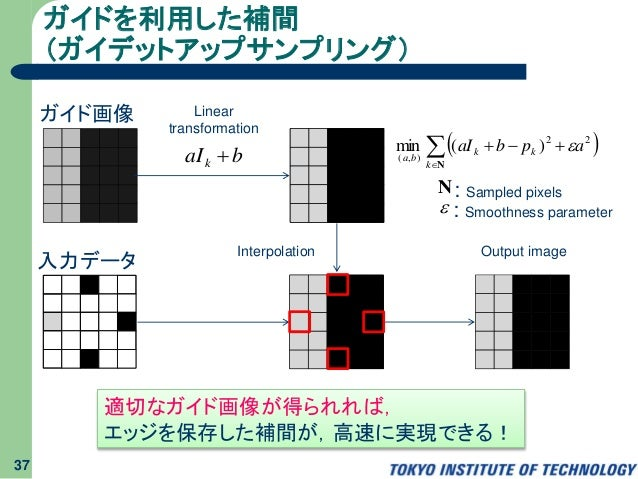 ガイドを利用した補間 (ガイデットアップサンプリング) 37 Linear transformation baIk  Interpolation Output image    Nk kk ba apbaI 22 ),( )(m...