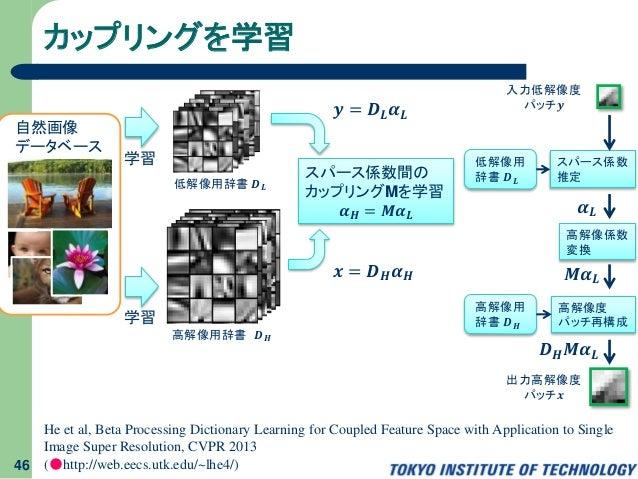 入力低解像度 パッチ𝒚 カップリングを学習 46 He et al, Beta Processing Dictionary Learning for Coupled Feature Space with Application to Singl...