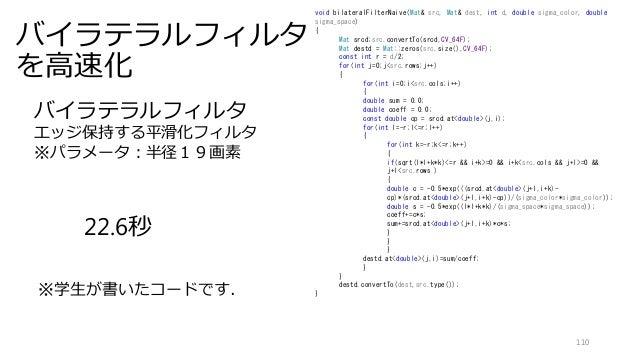 バイラテラルフィルタ を高速化 110 void bilateralFilterNaive(Mat& src, Mat& dest, int d, double sigma_color, double sigma_space) { Mat sr...