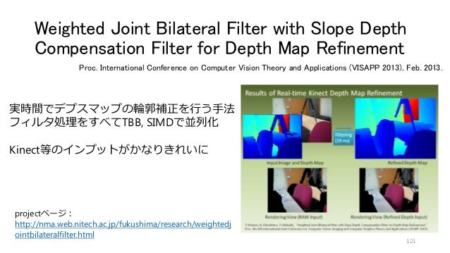 Weighted Joint Bilateral Filter with Slope Depth Compensation Filter for Depth Map Refinement 121 Proc. International Conf...