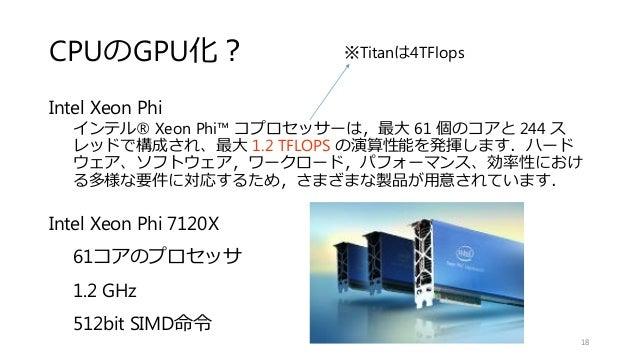 CPUのGPU化? Intel Xeon Phi インテル® Xeon Phi™ コプロセッサーは,最大 61 個のコアと 244 ス レッドで構成され、最大 1.2 TFLOPS の演算性能を発揮します.ハード ウェア、ソフトウェア,ワークロ...